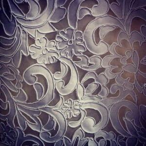 New from Elizabeth Fillmore: Matte satin laser-cut to look like lace.