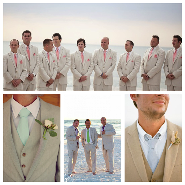 Khaki Suit Beach Wedding