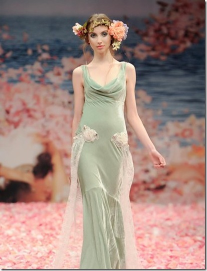 Claire Pettibone green wedding dress