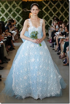 Oscar de la Renta blue with straps wedding dress