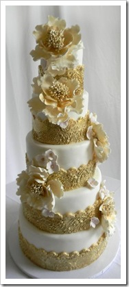 gold flower wedding cake topper