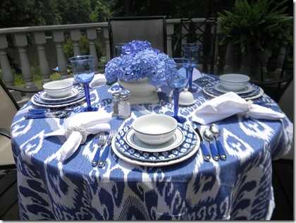 ikat blue table