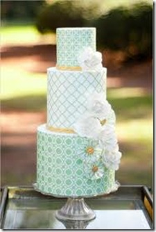 mint white flower cake
