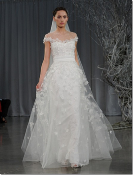 monique lhuillier sheer overlay wedding dress