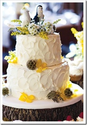 yellow birds wedding cake topper