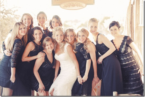 black and lace bridesmaids dresses