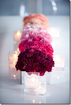 blush ombre wedding centerpiece