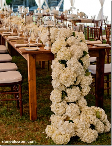 flower runner wedding centerpiece