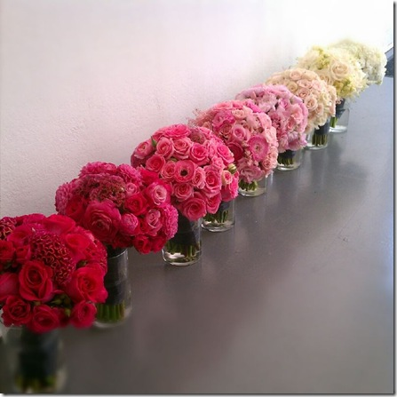 individual ombre bouquet wedding centerpiece