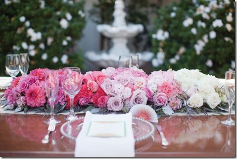 long ombre wedding flower centerpiece