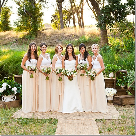 long pastel bridesmaid skirts