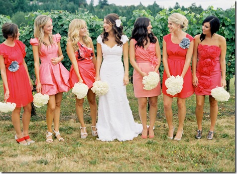 mismatched bridesmaid dresses coral