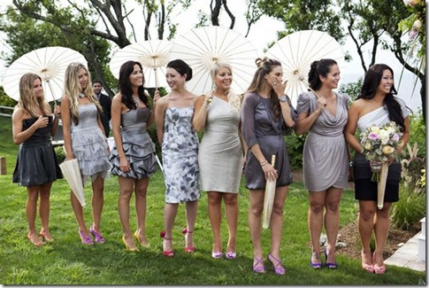 mismatched bridesmaid dresses grey