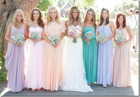 mismatched bridesmaid dresses pastels