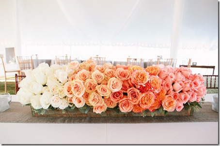 orange ombre wedding centerpiece