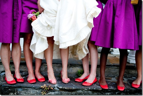 red bridesmaids flats
