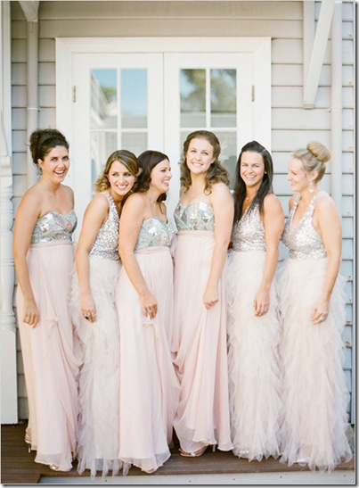 sequined bridesmaids dresses