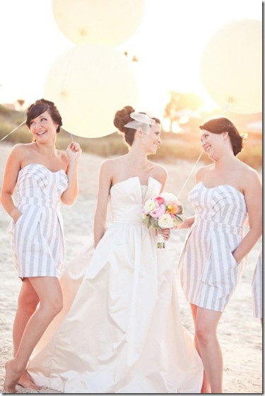 strapless striped bridesmaids dress