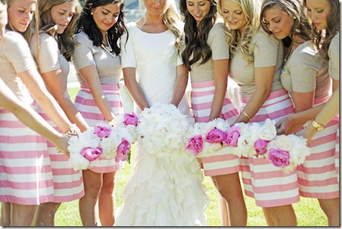 striped skirts bridemaids