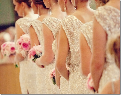 white and sequined bridesmaid dresses
