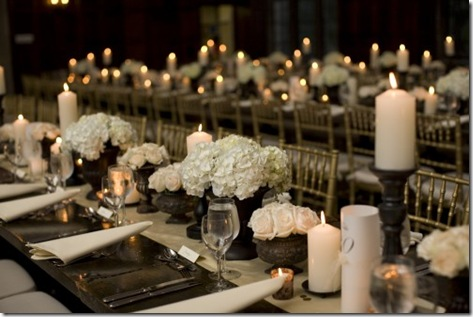 white hydrangeas and candles wedding centerpiece