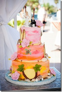 beach surfer wedding cake