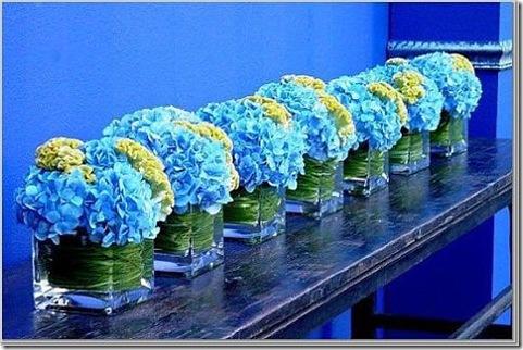 blue hydrangea centerpieces