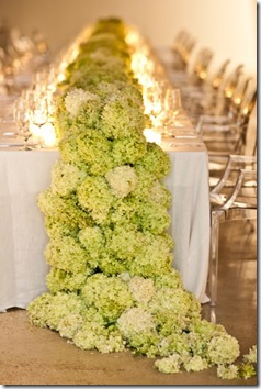 hydrangea table runner and centerpiece