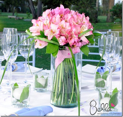 light pink lily centerpiece