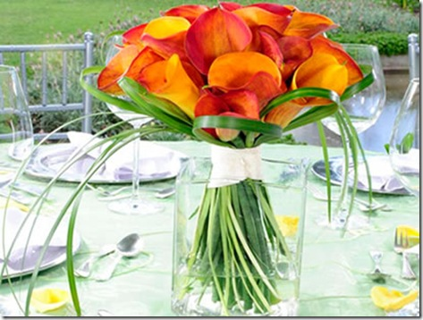 orange calla lily centerpiece