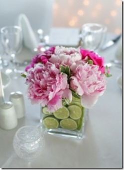 peonies and fruit centerpiece