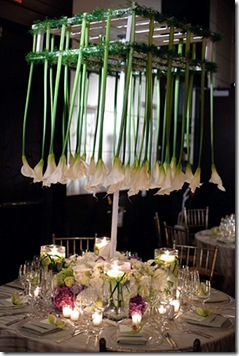 upside down calla lily centerpiece