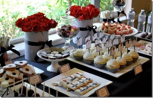 black and white wedding dessert table
