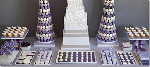 blue wedding dessert table